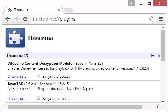 Управление плагинами в Google Chrome