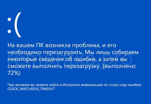 Синий экран смерти CLOCK_WATCHDOG_TIMEOUT