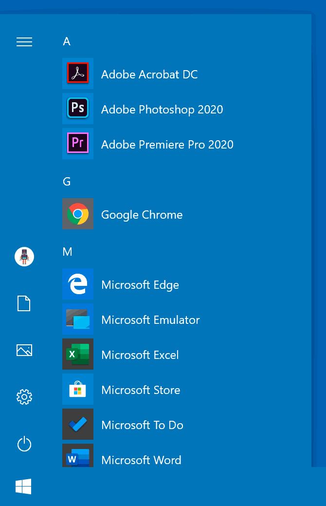 Цветное меню Пуск в Windows 10