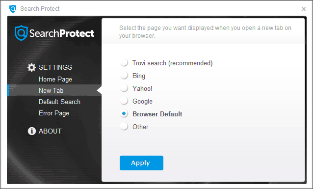 Настройки Search Protect