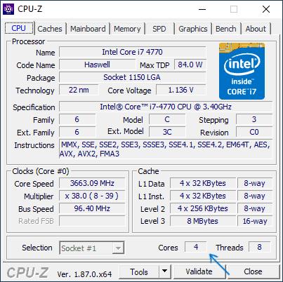Ядра и потоки в программе CPU-Z