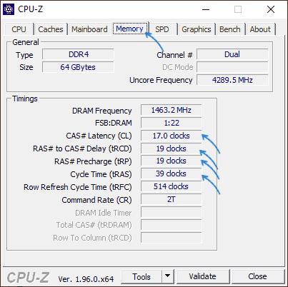 Текущие тайминги в CPU-Z