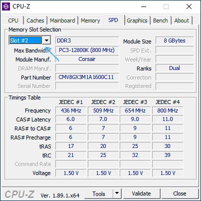 Информация об установленной оперативной памяти в CPU-Z