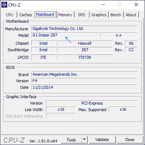 Модель материнской платы в CPU-Z