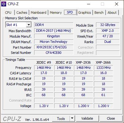 Поддерживаемые тайминги памяти в CPU-Z