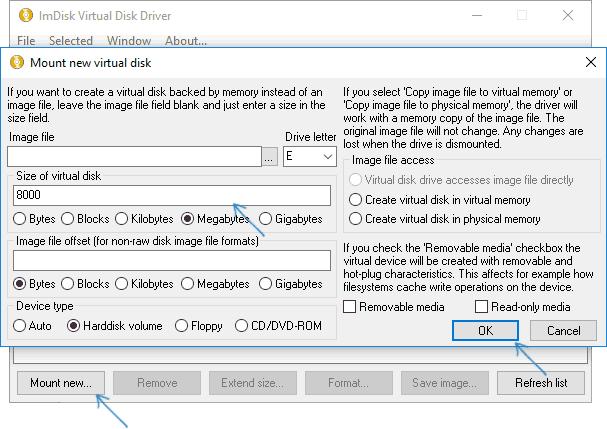 Создание RAM диска в ImDisk