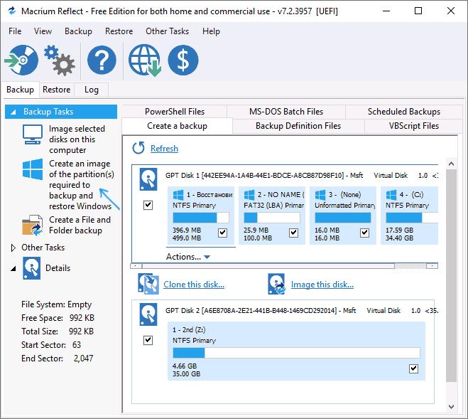 Создание резервной копии Windows в Macrium Reflect