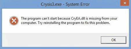 Ошибка при запуске игры Crysis 3