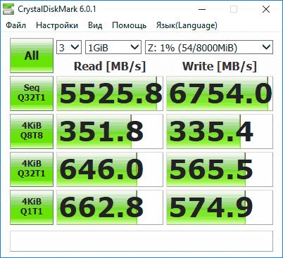 Проверка скорости SSD в CrystalDiskMark