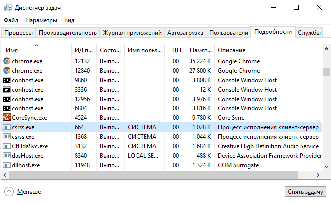 Процесс csrss.exe в Windows