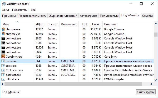 Процесс csrss.exe в Windows