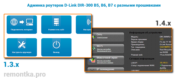 Варианты панели настроек роутера D-Link