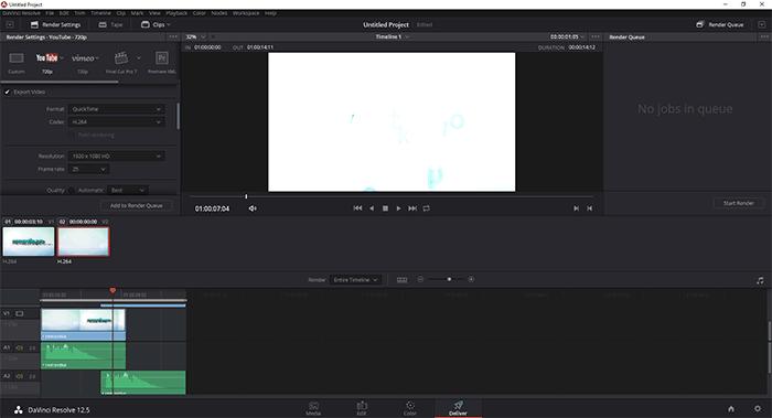 Рендер видео в DaVinci Resolve