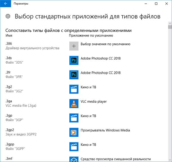 Программы по умолчанию для типов файлов