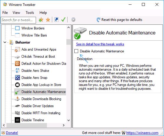 Отключение автоматического обслуживания системы в Winaero Tweaker