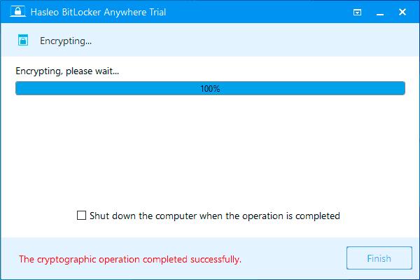 Шифрование диска завершено