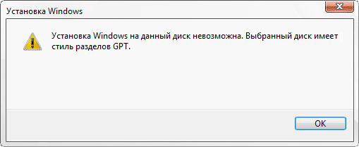 Установка Windows на данный диск невозможна