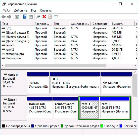 Разделы дисков в управлении дисками Windows