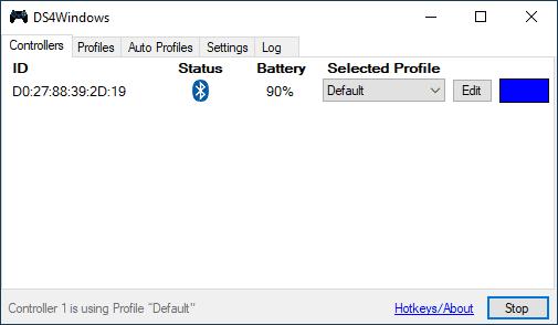 Контроллер PS4 подключен в DS4Windows