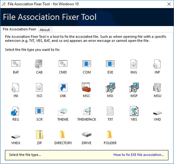Программа File Association Fixer Tool для Windows 10