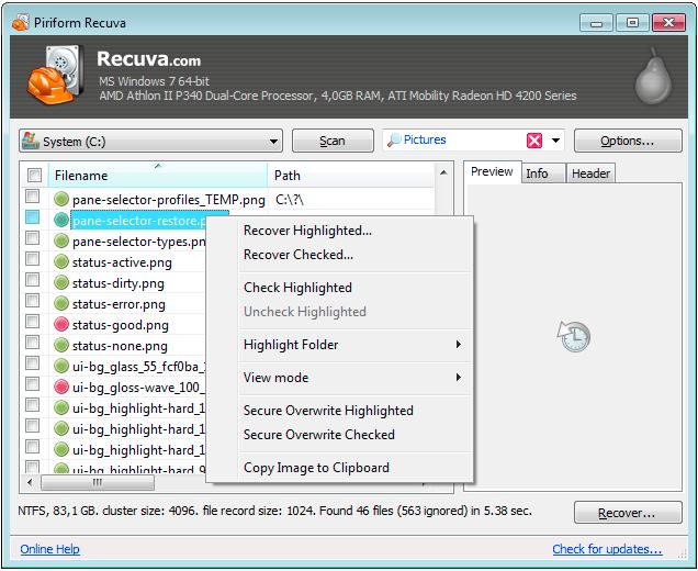 Программа для восстановления данных Recuva