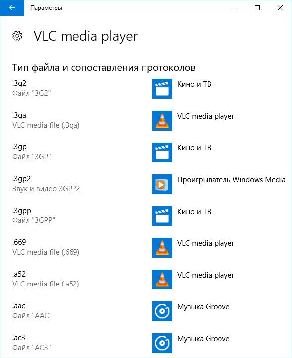 Типы файлов, поддерживаемые приложением