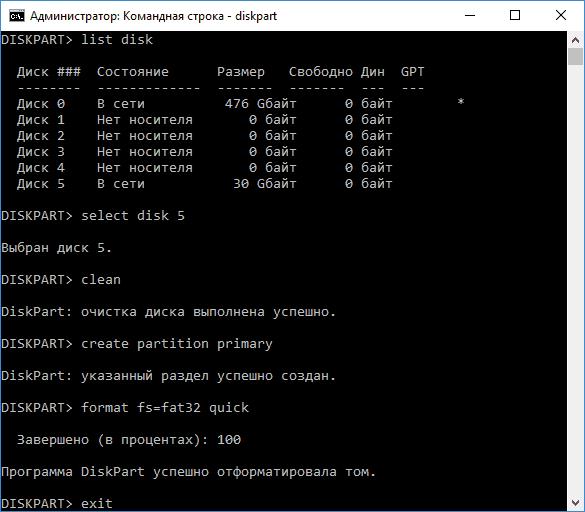Удаление разделов и форматирование в diskpart