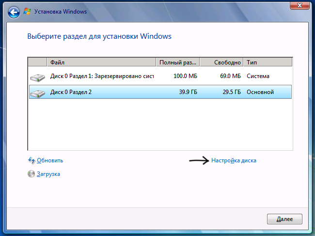 Форматирование диска при установке Windows 7