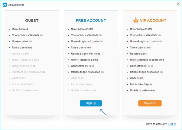 Регистрация бесплатного аккаунта ApowerMirror
