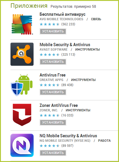 Антивирусы для андроид на Google Play
