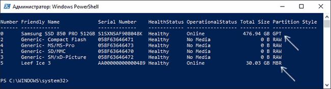 Проверяем GPT или MBR диск в PowerShell