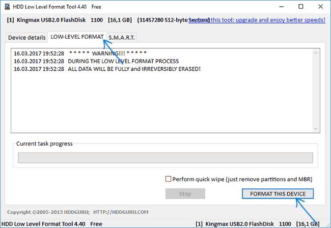 Начать низкоуровневое форматирование флешки