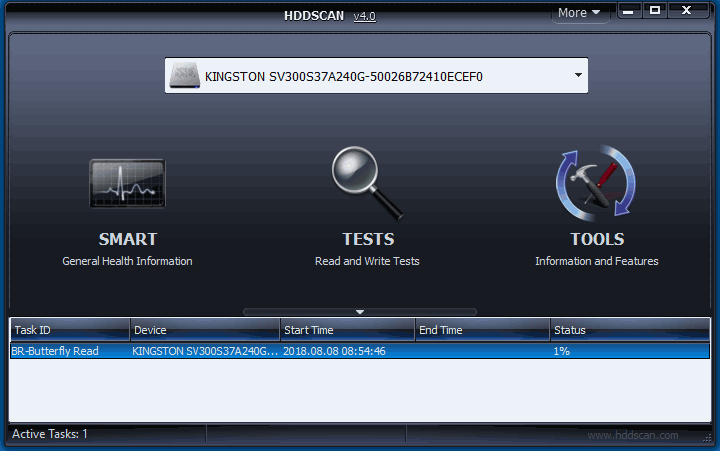 Главное окно программы HDDScan
