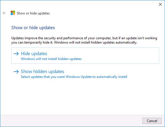 Скрытие обновлений Windows 10