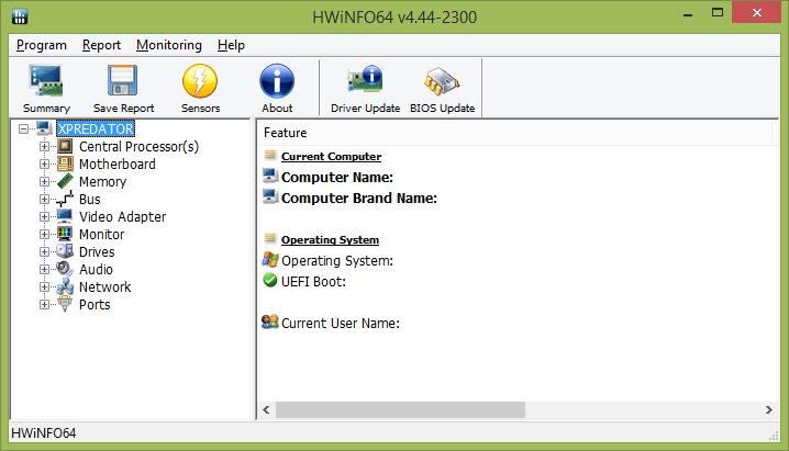 Главное окно программы HWInfo