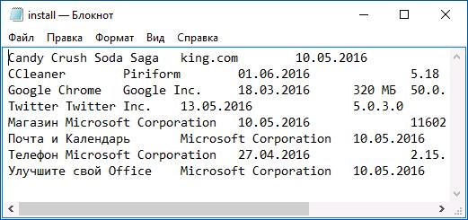 Текстовый файл со списком программ