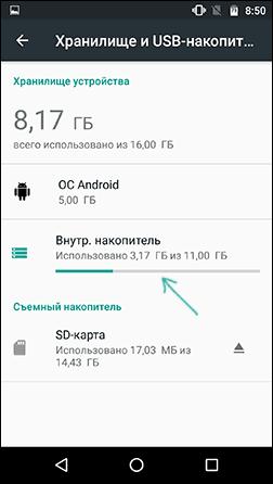 Настройки внутренней памяти Android