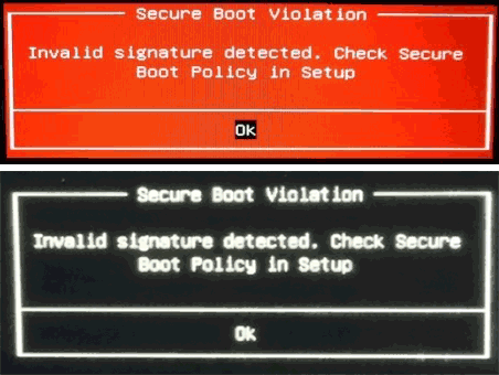 Сообщение Secure Boot Violation Invalid Signature Detected