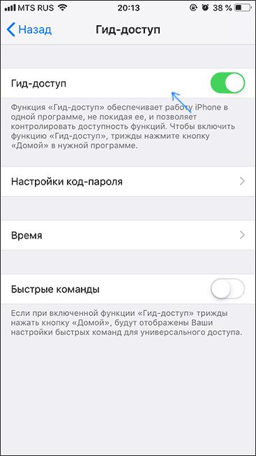 Гид-доступ на iPhone