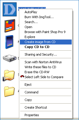 Контекстное меню ISO программы ISO recorder