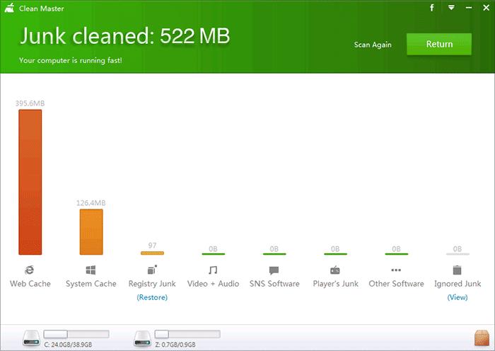 Результат очистки компьютера от мусора