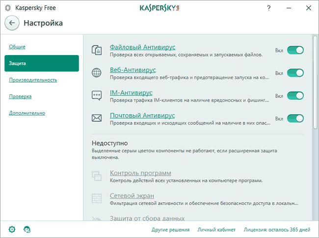 Параметры бесплатного антивируса Касперского