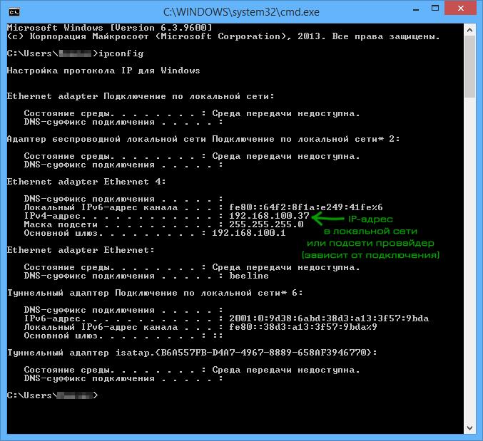 Внутренний IP-адрес в ipconfig