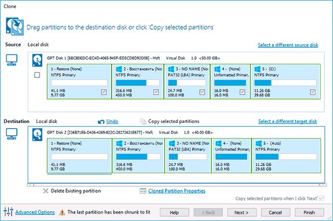 Перенос Windows 10 на SSD в Macrium Reflect
