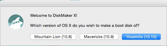 Создание USB с OS X Yosemite в DiskMaker X