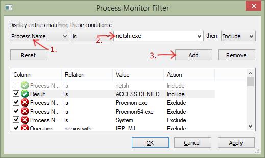 Фильтр процесс netsh.exe