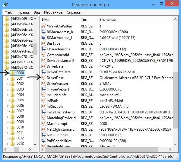 Параметры сетевых карт в редакторе реестра