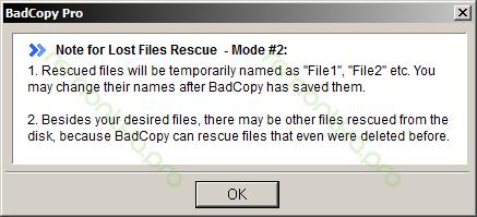Предупреждение о процессе восстановления файлов