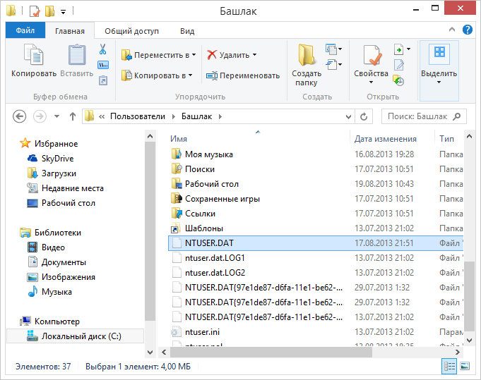 Файл ntuser.dat в проводнике Windows