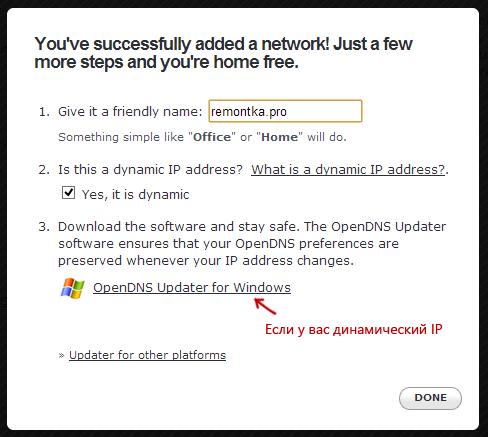 Указание имени сети и загрузка OpenDNS Updater